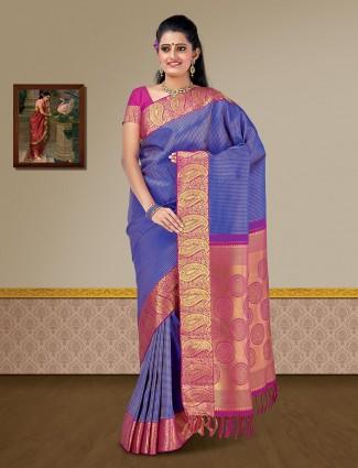 Royal blue pure silk kanjivaram saree