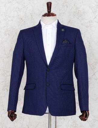 Royal blue terry rayon two button pattern blazer