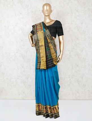 Royal blue thread zari weaving saree