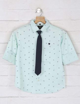 Ruff cotton sea green printed boys shirt