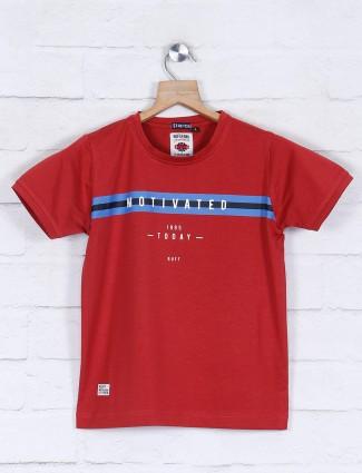 Ruff half sleeves maroon printed t-shirt