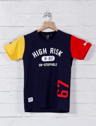 Ruff half sleeves navy printed t-shirt