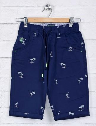 Ruff navy printed cotton short