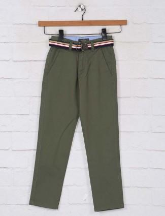 Ruff olive slim fit cotton jeans