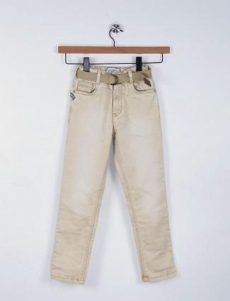 Ruff plain khaki denim elasticed jeans