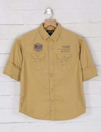 Ruff presented beige solid shirt