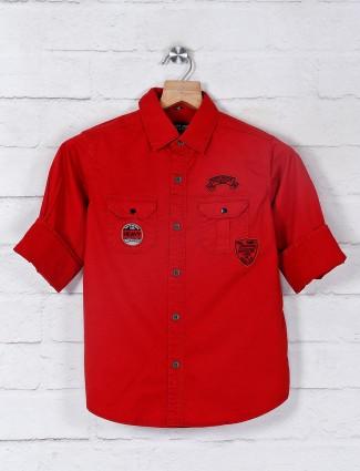 Ruff rust orange casual patch pocket shirt