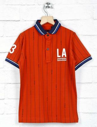 Ruff rust orange stripe polo t-shirt