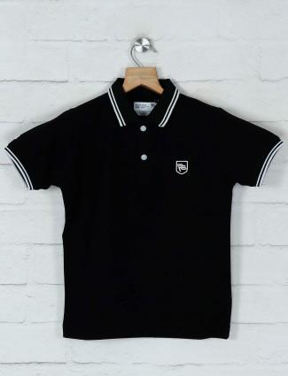 Ruff solid black cotton t-shirt