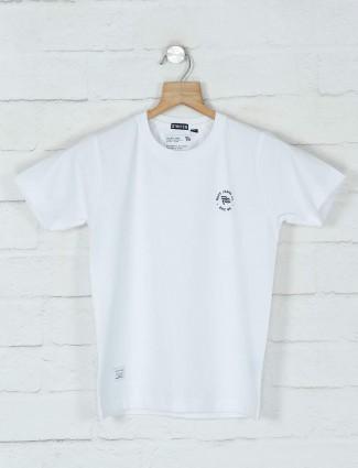 Ruff solid white cotton boys t-shirt