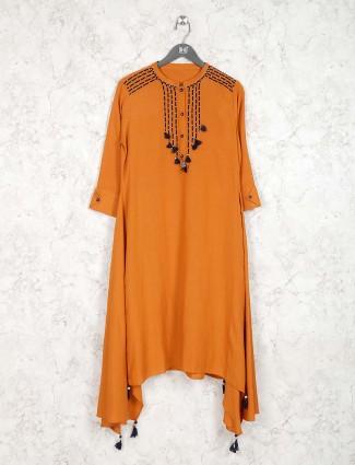 Rust orange cotton fabric round neck kurti