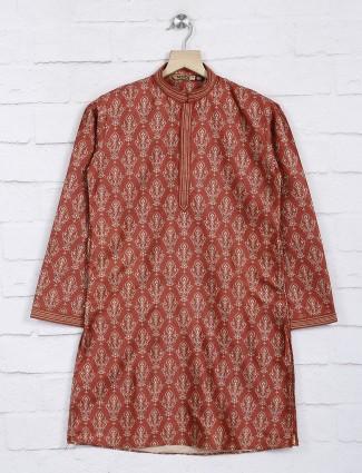 Rust orange cotton kurta suit for festive