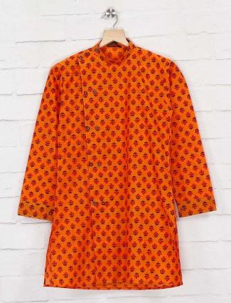 Rust orange cotton printed kurta suit