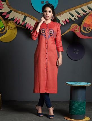 Rust orange hue cotton  silk casual kurti