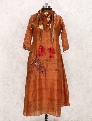 Rust orange party wear kurti