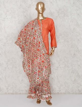 Rust orange punjabi sharara suit in cotton
