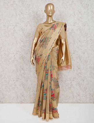 Saree in beige handloom cotton silk