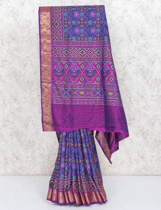 Saree in blue cotton silk in patola printed