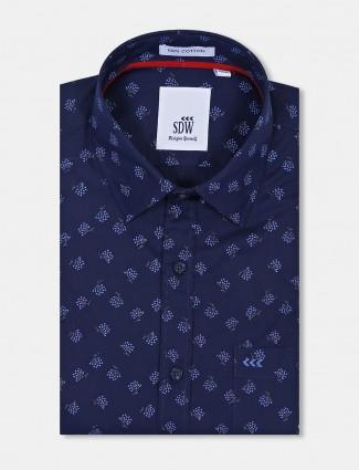 SDW navy color printed formal shirt