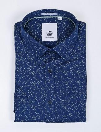 SDW navy printed cotton cut away collar shirt