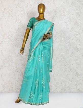 Sea blue color saree in pure silk