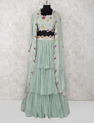 Sea green cotton fabric layer style lehenga choli