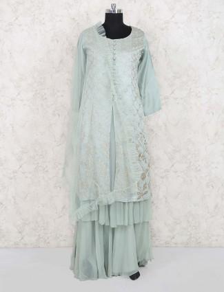 Sea green cotton silk lehenga cum salwar suit