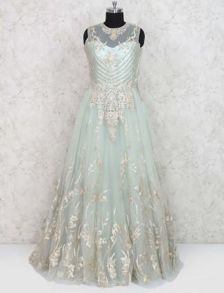 Sea green net fabric floor length gown