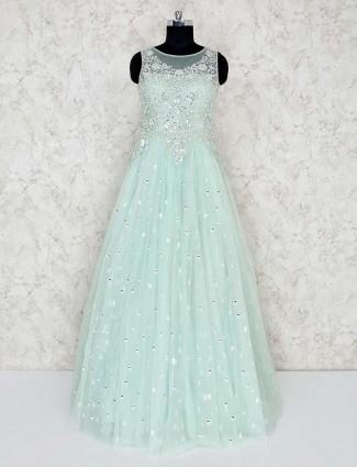 Sea green net floor length gown