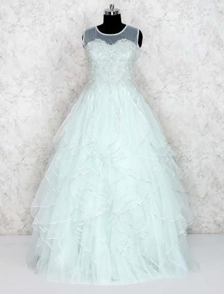 Sea green ruffle gown in net fabric