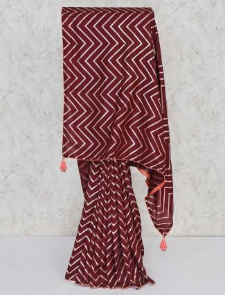 Cotton silk brown leheriya style saree for festival