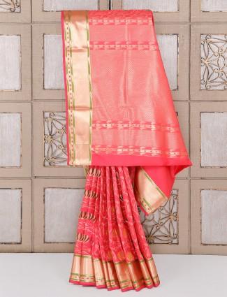 Semi silk fabric pink hue saree