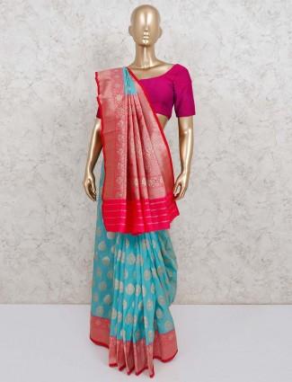 Semi silk festive aqua saree
