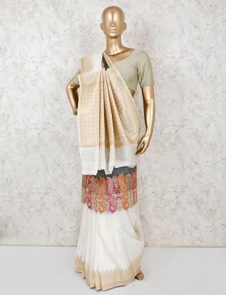 Semi silk grey and cream saree