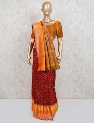 Semi silk maroon saree in festive