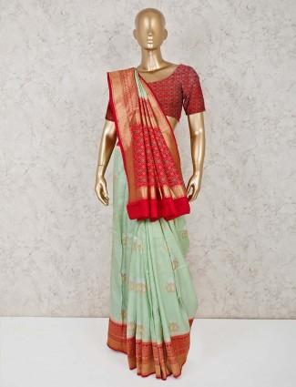 Semi silk pista green saree for reception