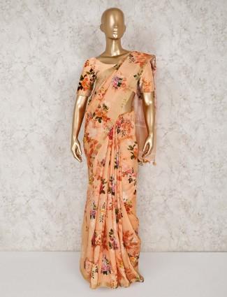 Semi silk printed peach saree