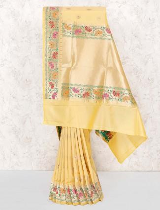 Semi silk saree in yellow hue