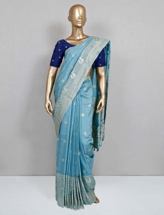 Semi silk wedding wear blue saree