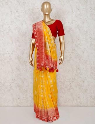 Semi silk yellow festive saree