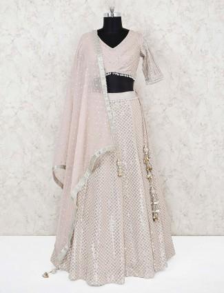 Silk beige wedding wear designer lehenga choli