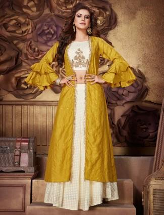 Silk cream gold jecket style lehenga suit