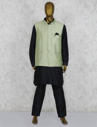 Silk fabric black and green party wear waistcoat set