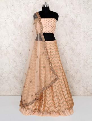 Silk fabric cream color semi stitched lehenga choli for wedding