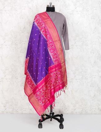 Silk fabric lovely purple color dupatta