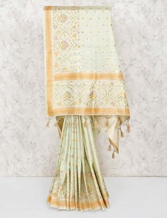 Silk fabric saree in pista green