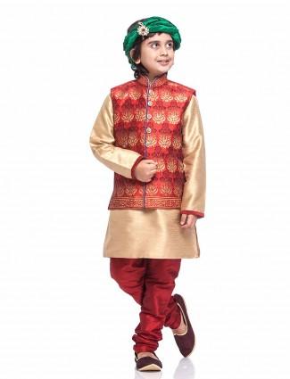 Silk gold red waistcoat set