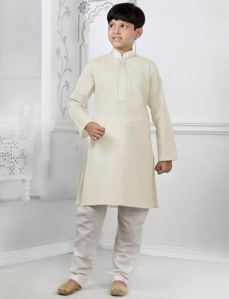 Silk kurta suit in cream color