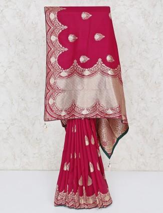 Silk magenta silk saree