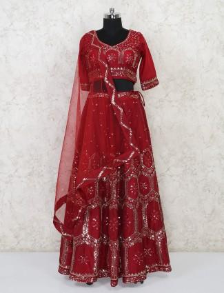 Silk maroon wedding occasion lehenga choli